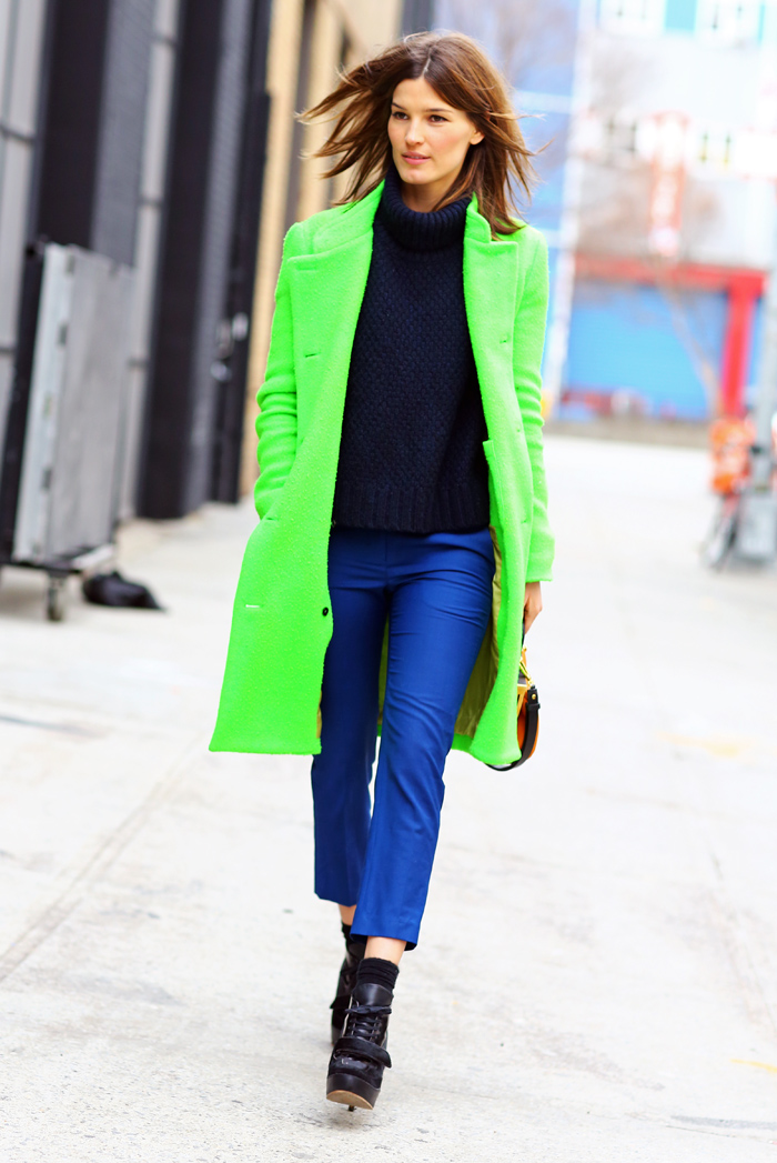 Hanneli Neon Green Acne Coat Street Fashion Street Peeper Global Street Fashion And