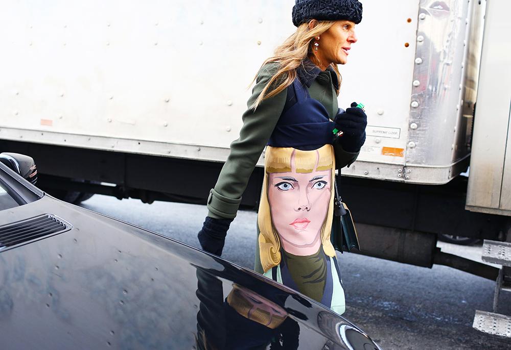 Anna Dello Russo Prada Face Street Style