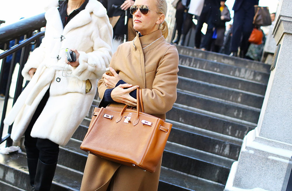 Camel Coat Hermes Bag