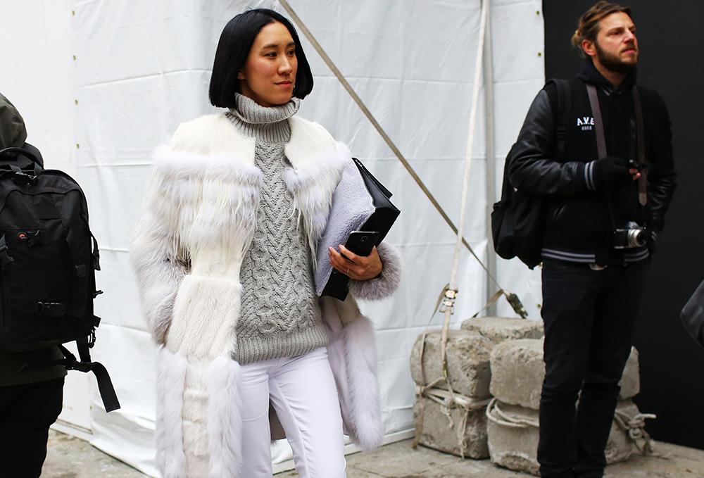 Eva Chen Street Style White Fur