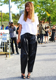 Caroline de Maigret, Black Leather Pants Fashion