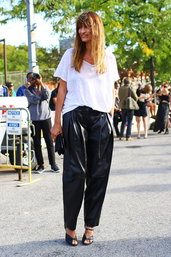 Caroline de Maigret, Black Leather Pants | Street Fashion | Street ...