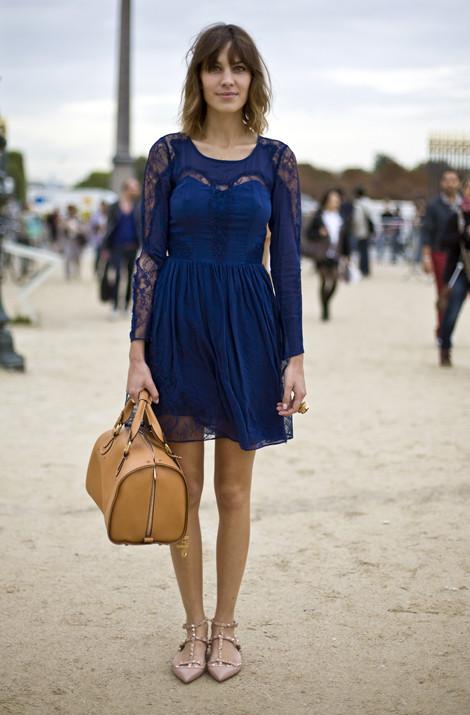 Alexa Chung in Whistes Rosalind Dress, Paris
