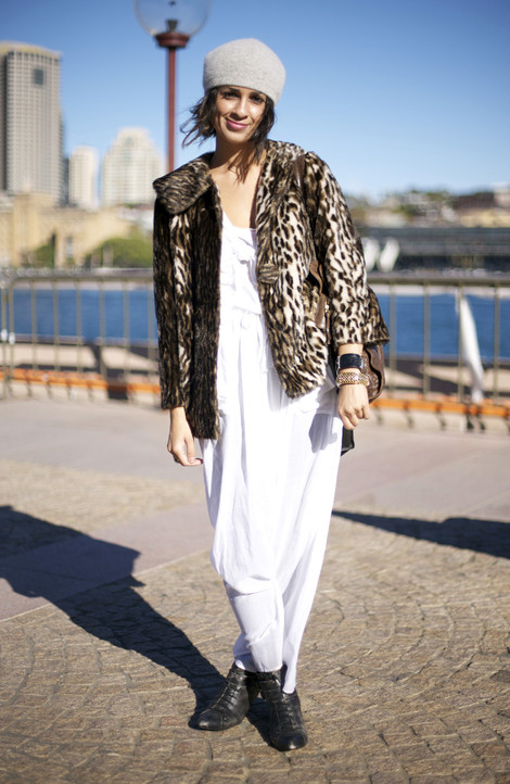 Leopard and White Dress