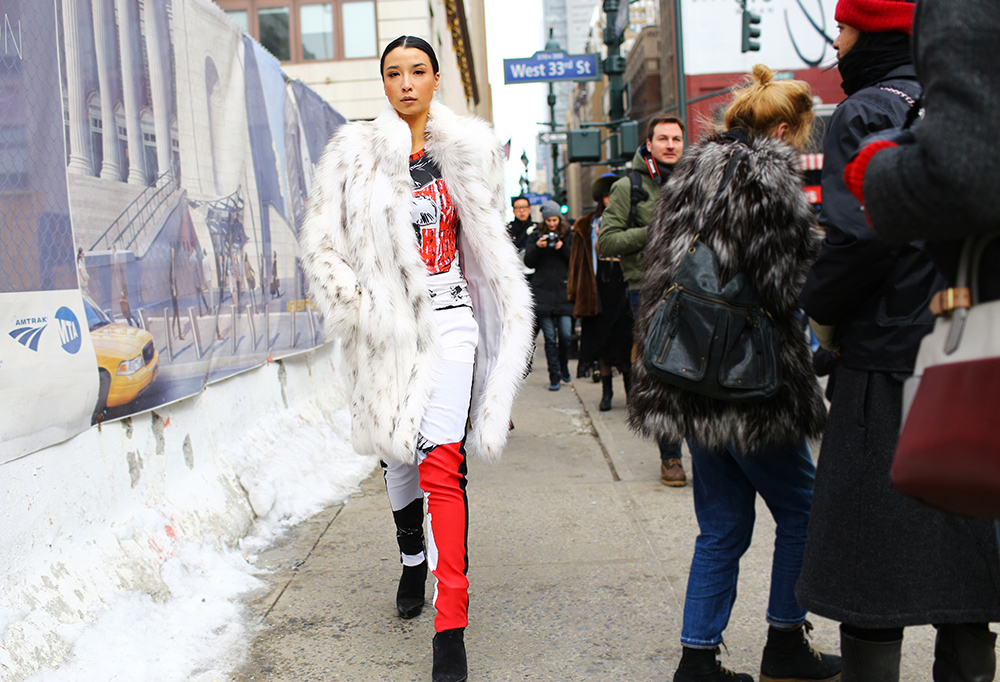 Lily Kwong Ferragamo Fur Street Style