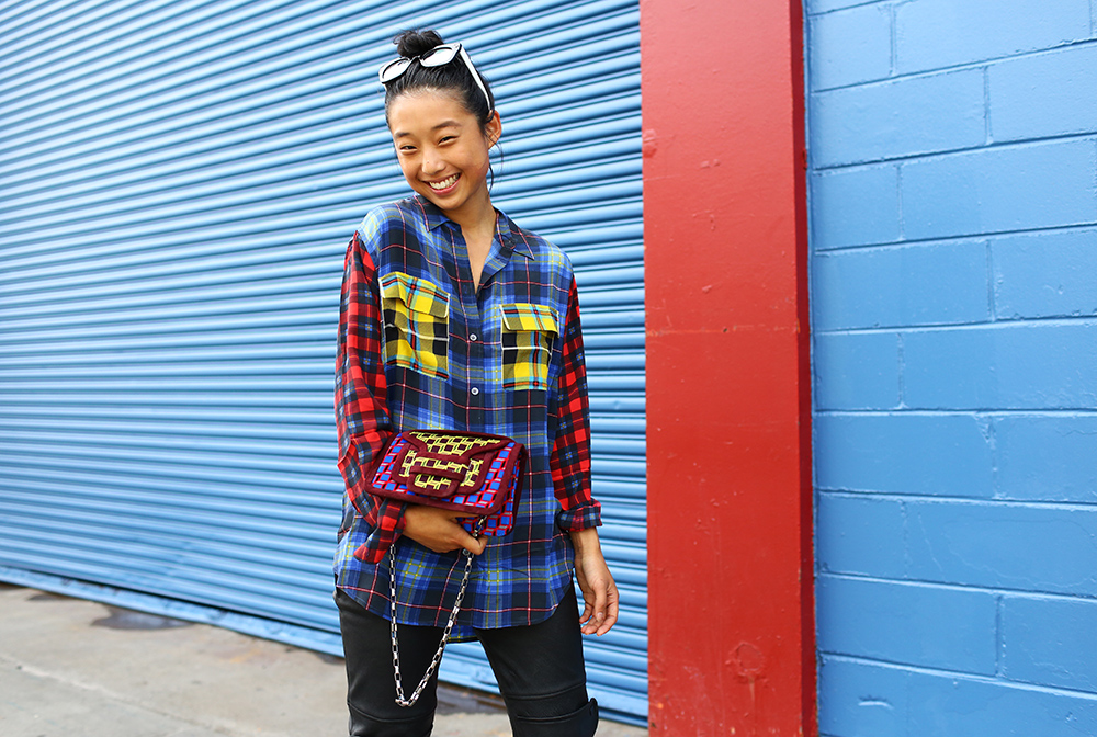 Margaret Zhang Equipment Plaid Street Style