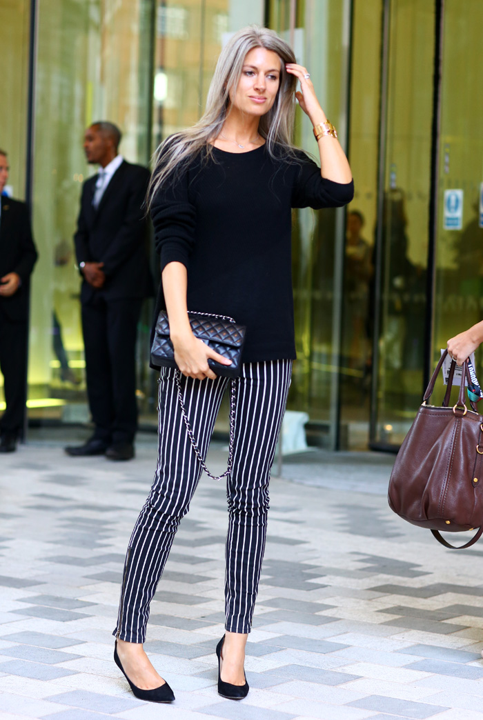 Sarah Harris British Vogue Stripey Pants Street Fashion Street Peeper Global Street: girl fashion style london